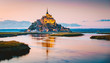 Leinwanddruck Bild Mont Saint-Michel at twilight, Normandy, France