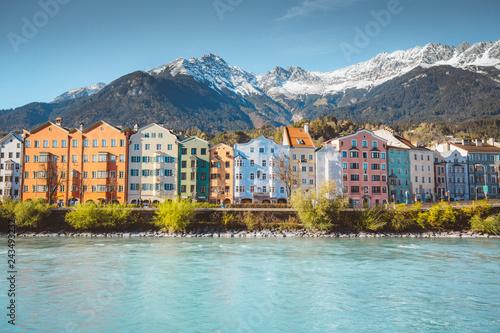 Poster Centraal Europa City of Innsbruck with Inn river, Tyrol, Austria