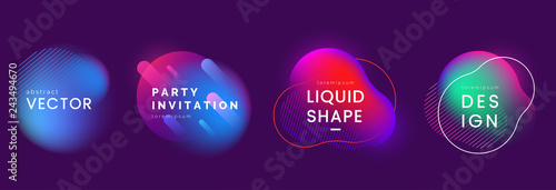 Set of abstract liquid banners in different neon colors Wallpaper Mural