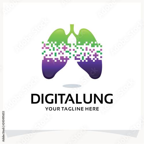 Fényképezés Digital Lung Logo Design Template Inspiration