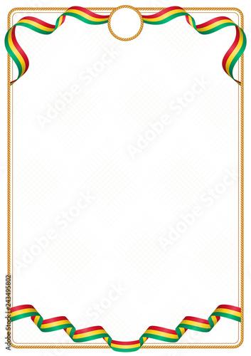 Fotografía  Frame and border of Guinea colors flag