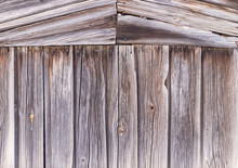 Old Wooden Wall With Sloping Boards, Detailed Wood Texture. Wooden Plank Wall Of The House