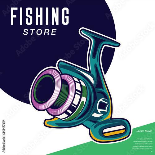 Photographie Fishing club vintage logo design, emblem of the trout fishermen, grange print st
