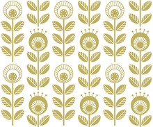Scandinavian Folk Style Flowers - Seamless Floral Pattern Based On Traditional Folk Art Ornaments, Sweden Nordic Style. Vector Illustration. One Color - Easy To Recolor