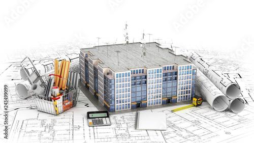 Obraz na płótnie Residential house with tools on architect blueprints