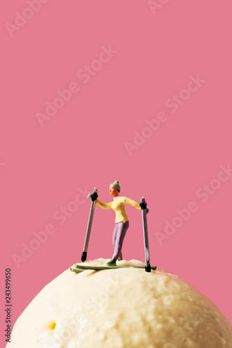 miniature skier on an ice cream