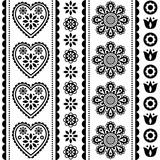 Skandynawski bezszwowy ludowej sztuki wektoru wzór z kwiatami i sercami, czarny i biały Nordic ornamentu projekt - dłudzy lampasy - 243500249