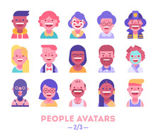 Set Of Vector Avatars. Different Skin Tones, Clothes And Hair Styles. Modern And Clear Flat Style. Part 2 Of 3.