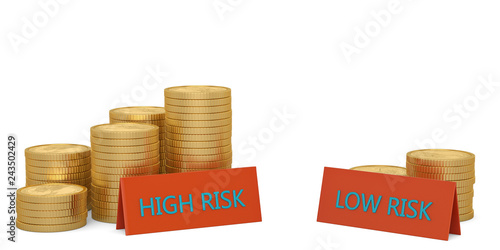 Risk concept gold coins piles and signs on white background Canvas Print