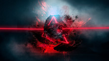 Abstract Background With Comet Explosion. Thick Smoke Burning Stone, Laser Beam, Red Neon. Cosmic Explosion, Neon Light.