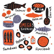 Omega 3 Sources. Hand Drawn Illustration Of Different Food With Omega 3. Doodle. Vector Design.