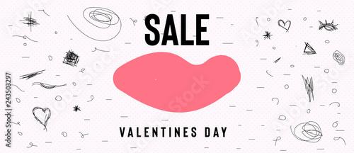 Szczęśliwy transparent sprzedaż Walentynki z sercem tekst i czerwony balon. Modne tło z ręcznie rysowane pędzlem. Ilustracji wektorowych