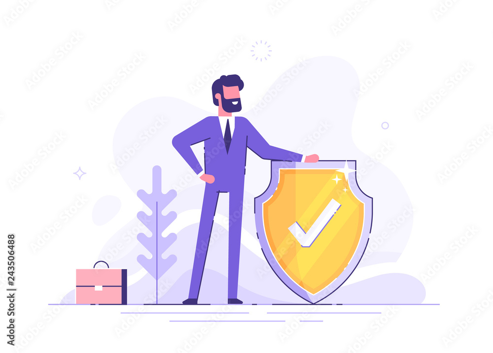 Fototapeta Man is holding a shield covering from attacks. Protection, insurance,  from business  dangers concept. Modern vector illustration.