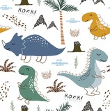 Fototapeta Dinusie - childish dinosaur seamless pattern for fashion clothes, fabric, t shirts. hand drawn vector with lettering.