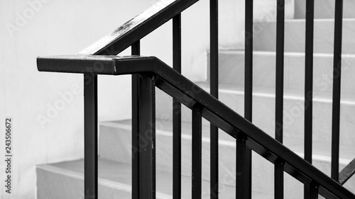 Slika na platnu closeup steel railing in the house - monochrome
