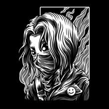 Red Girl Black & White Illustration