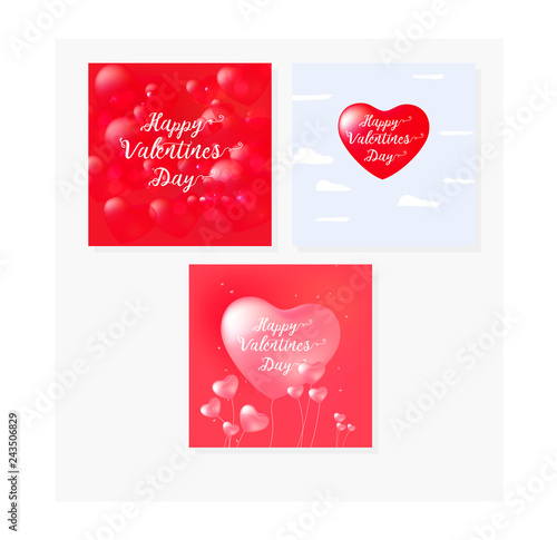 Fototapeta Happy Valentine's Day set cards with calligraphy text and red baloon hearts. Vector illustration obraz na płótnie