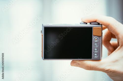 Backside of a modern digital camera, black screen Canvas Print