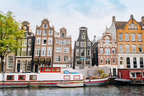 Photo Stands Lavender Amsterdam, Netherlands September 5, 2017: canals and rivers. City landscape. Tourist place. Sights.
