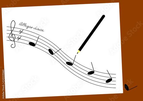 Glissando : des notes noires glissent sur une portée en forme de toboggan Canvas Print