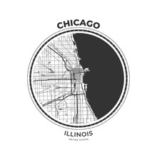 T-shirt Map Badge Of Chicago, ...