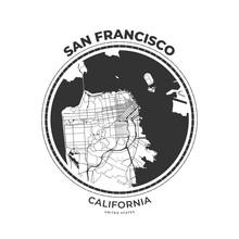 T-shirt Map Badge Of San Francisco, California