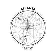 T-shirt Map Badge Of Atlanta, Georgia