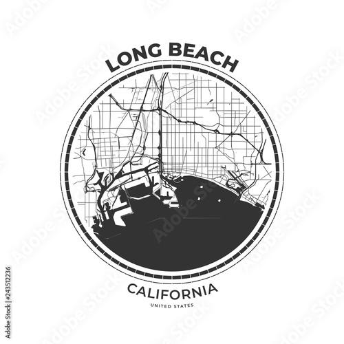 T-shirt map badge of Long Beach, California – kaufen Sie ...
