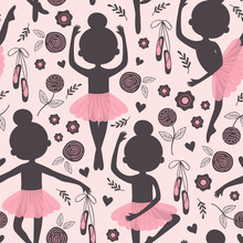 Black And Pink Seamless Pattern With Silhouette Ballerina Girl  - Vector Illustration, Eps