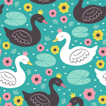 Seamless Pattern With White And Black Princess Swan  - Vector Illustration, Eps