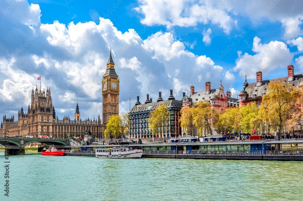 Big Ben and Victoria embankment, London, UK