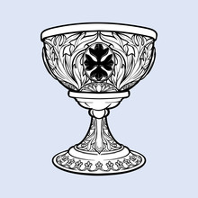 Decorative Goblet. Medieval Gothic Style Concept Art. Design Element. Black A Nd White Drawing Isolated On Grey Background. EPS10 Vector Illustration