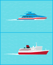 Cruise Liner And Yacht Leave Traces Water Sailing