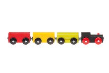 Colorful Wooden Toy Train, Isolated On White Background