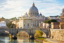 Saint Peter Basilica In Vatican City With Saint Angelo Bridge