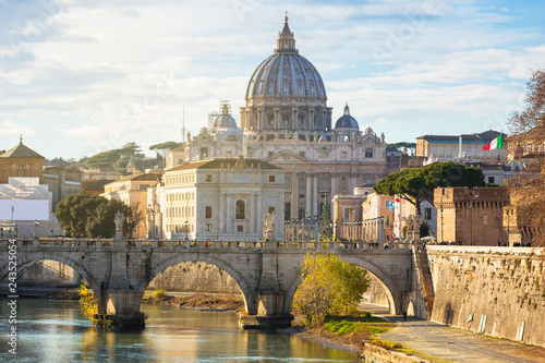 Fotografie, Obraz Saint Peter Basilica in Vatican city with Saint Angelo Bridge