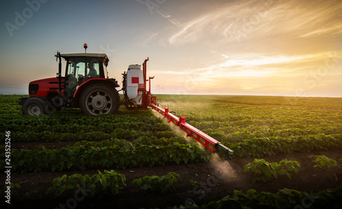 Obraz Tractor spraying pesticides at  soy bean field - fototapety do salonu