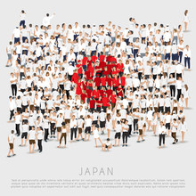 Crowd Of People In Shape Of Japan Flag : Vector Illustration