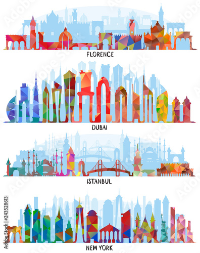 Florence, Dubai, New York and Istanbul backgrounds Wallpaper Mural
