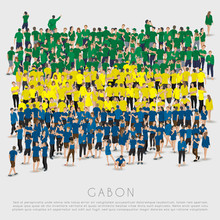 Crowd Of People In Shape Of Gabon Flag : Vector Illustration