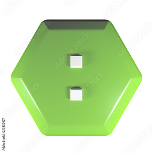 Photo  Green hexagonal push button with the sign : for the division operation - 3D rend