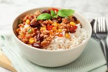 Tasty Chili Con Carne Served W...