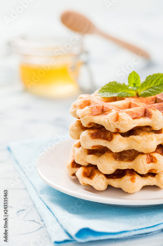 Fotografía  Belgian waffles with mint leaves and honey in glass jar with wooden honey dipper on pastel blue background