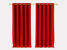 Red Curtains With A Cornice On...