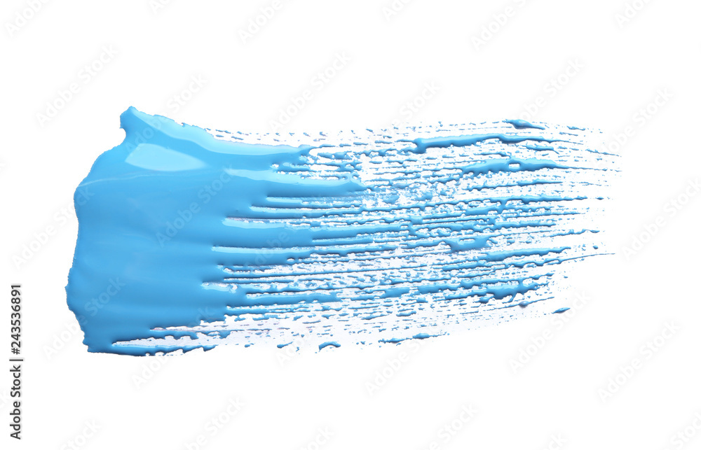 Fototapety, obrazy: Abstract brushstroke of blue paint isolated on white
