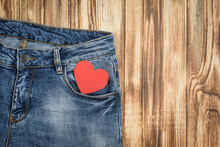 Red Heart In Jeans Pocket. Val...