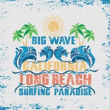 Surfing California, T-shirt Surfing Long Beach, Water Sports