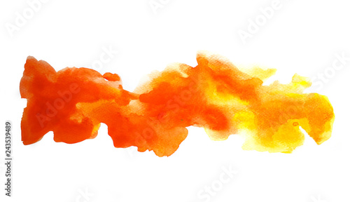 Abstract Orange And Yellow Watercolor On White Background