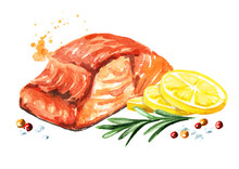 Delicious Grilled Salmon Fish Fillet With Lemon, Rosemary And Spicies. Watercolor Hand Drawn Illustration, Isolated On White Background