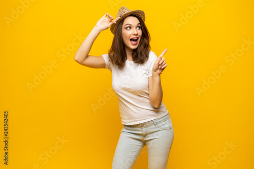 No way, look this ! Woman pointing finger at copy space Canvas Print